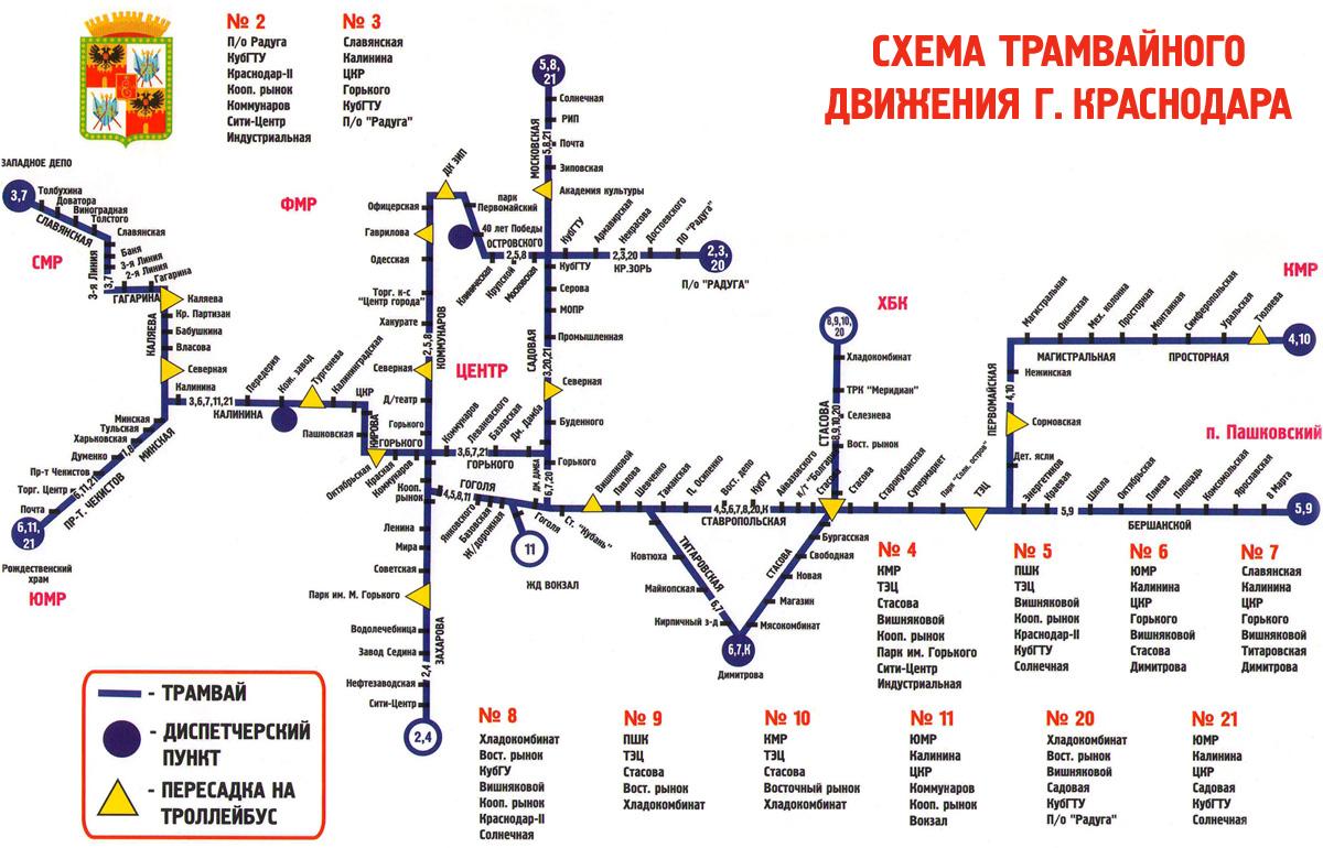 схема движения трамвай 6 краснодар